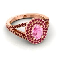 Ornate Oval Halo Dhala Pink Tourmaline Ring with Ruby and Garnet in 18K Rose Gold