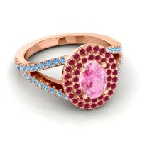 Ornate Oval Halo Dhala Pink Tourmaline Ring with Ruby and Swiss Blue Topaz in 18K Rose Gold