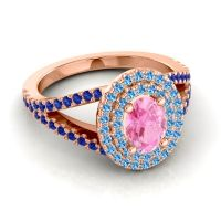 Ornate Oval Halo Dhala Pink Tourmaline Ring with Swiss Blue Topaz and Blue Sapphire in 18K Rose Gold