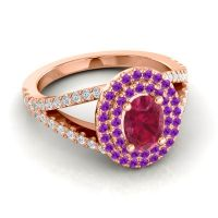 Ornate Oval Halo Dhala Ruby Ring with Amethyst and Diamond in 14K Rose Gold