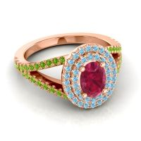 Ornate Oval Halo Dhala Ruby Ring with Aquamarine and Peridot in 14K Rose Gold