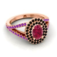 Ornate Oval Halo Dhala Ruby Ring with Black Onyx and Amethyst in 18K Rose Gold