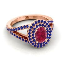 Ornate Oval Halo Dhala Ruby Ring with Blue Sapphire in 14K Rose Gold