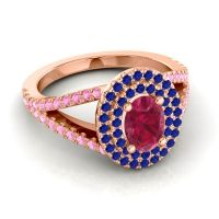 Ornate Oval Halo Dhala Ruby Ring with Blue Sapphire and Pink Tourmaline in 14K Rose Gold