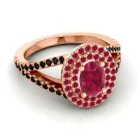 Ornate Oval Halo Dhala Ruby Ring with Black Onyx in 14K Rose Gold
