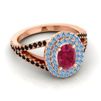 Ornate Oval Halo Dhala Ruby Ring with Swiss Blue Topaz and Black Onyx in 18K Rose Gold