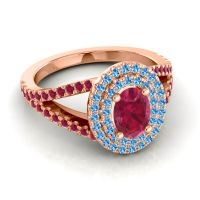 Ornate Oval Halo Dhala Ruby Ring with Swiss Blue Topaz in 18K Rose Gold