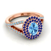 Ornate Oval Halo Dhala Swiss Blue Topaz Ring with Blue Sapphire and Aquamarine in 14K Rose Gold