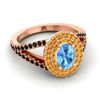 Ornate Oval Halo Dhala Swiss Blue Topaz Ring with Citrine and Black Onyx in 18K Rose Gold