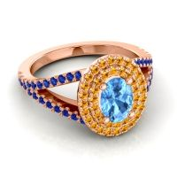 Ornate Oval Halo Dhala Swiss Blue Topaz Ring with Citrine and Blue Sapphire in 14K Rose Gold