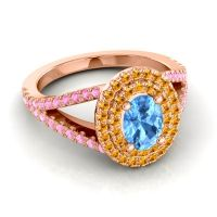 Ornate Oval Halo Dhala Swiss Blue Topaz Ring with Citrine and Pink Tourmaline in 18K Rose Gold