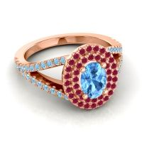 Ornate Oval Halo Dhala Swiss Blue Topaz Ring with Ruby and Aquamarine in 14K Rose Gold
