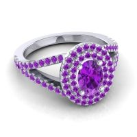 Ornate Oval Halo Dhala Amethyst Ring in Platinum