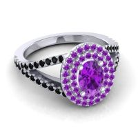 Ornate Oval Halo Dhala Amethyst Ring with Black Onyx in Platinum