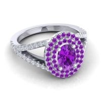 Ornate Oval Halo Dhala Amethyst Ring with Diamond in 14k White Gold