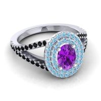 Ornate Oval Halo Dhala Amethyst Ring with Aquamarine and Black Onyx in 18k White Gold
