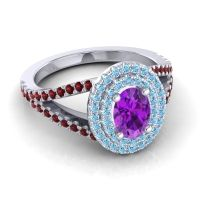 Ornate Oval Halo Dhala Amethyst Ring with Aquamarine and Garnet in Palladium