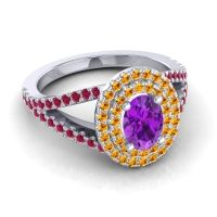 Ornate Oval Halo Dhala Amethyst Ring with Citrine and Ruby in Platinum