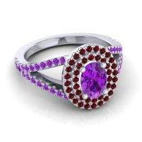 Ornate Oval Halo Dhala Amethyst Ring with Garnet in Palladium