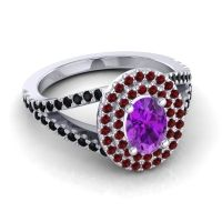 Ornate Oval Halo Dhala Amethyst Ring with Garnet and Black Onyx in 18k White Gold