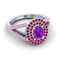 Ornate Oval Halo Dhala Amethyst Ring with Ruby and Pink Tourmaline in Platinum