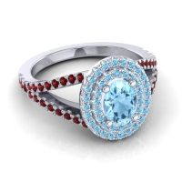 Ornate Oval Halo Dhala Aquamarine Ring with Garnet in 18k White Gold