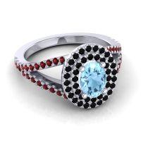 Ornate Oval Halo Dhala Aquamarine Ring with Black Onyx and Garnet in 18k White Gold