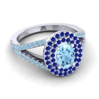 Ornate Oval Halo Dhala Aquamarine Ring with Blue Sapphire in Platinum