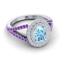 Ornate Oval Halo Dhala Aquamarine Ring with Diamond and Amethyst in 14k White Gold