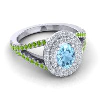 Ornate Oval Halo Dhala Aquamarine Ring with Diamond and Peridot in Palladium