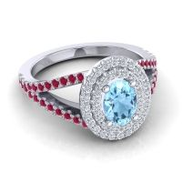 Ornate Oval Halo Dhala Aquamarine Ring with Diamond and Ruby in Platinum