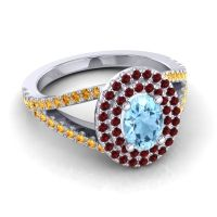 Ornate Oval Halo Dhala Aquamarine Ring with Garnet and Citrine in 18k White Gold