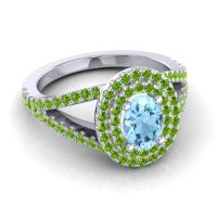 Ornate Oval Halo Dhala Aquamarine Ring with Peridot in 18k White Gold