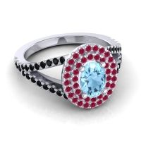 Ornate Oval Halo Dhala Aquamarine Ring with Ruby and Black Onyx in 18k White Gold