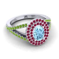 Ornate Oval Halo Dhala Aquamarine Ring with Ruby and Peridot in 18k White Gold