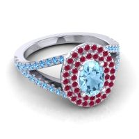 Ornate Oval Halo Dhala Aquamarine Ring with Ruby and Swiss Blue Topaz in 14k White Gold