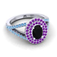 Ornate Oval Halo Dhala Black Onyx Ring with Amethyst and Swiss Blue Topaz in Platinum