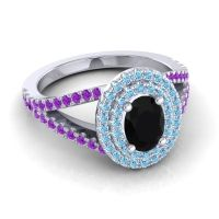 Ornate Oval Halo Dhala Black Onyx Ring with Aquamarine and Amethyst in Platinum