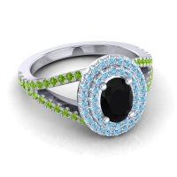Ornate Oval Halo Dhala Black Onyx Ring with Aquamarine and Peridot in Palladium