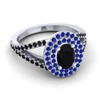 Ornate Oval Halo Dhala Black Onyx Ring with Blue Sapphire in Palladium