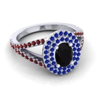 Ornate Oval Halo Dhala Black Onyx Ring with Blue Sapphire and Garnet in 18k White Gold