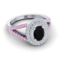 Ornate Oval Halo Dhala Black Onyx Ring with Diamond and Pink Tourmaline in Platinum