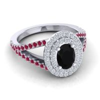 Ornate Oval Halo Dhala Black Onyx Ring with Diamond and Ruby in Palladium