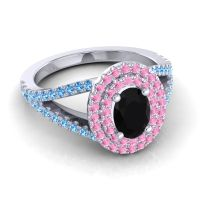 Ornate Oval Halo Dhala Black Onyx Ring with Pink Tourmaline and Swiss Blue Topaz in Platinum