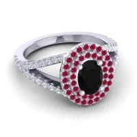 Ornate Oval Halo Dhala Black Onyx Ring with Ruby and Diamond in Palladium