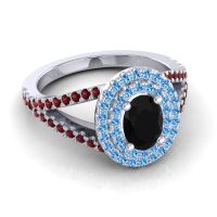 Ornate Oval Halo Dhala Black Onyx Ring with Swiss Blue Topaz and Garnet in Platinum