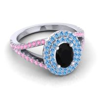 Ornate Oval Halo Dhala Black Onyx Ring with Swiss Blue Topaz and Pink Tourmaline in 18k White Gold