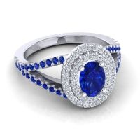 Ornate Oval Halo Dhala Blue Sapphire Ring with Diamond in Platinum