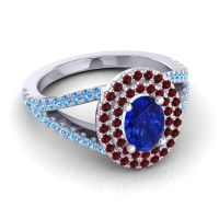 Ornate Oval Halo Dhala Blue Sapphire Ring with Garnet and Swiss Blue Topaz in Platinum
