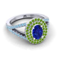 Ornate Oval Halo Dhala Blue Sapphire Ring with Peridot and Aquamarine in Palladium